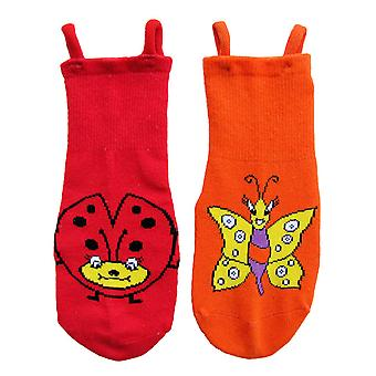 Ladybird & Butterfly EZ SOX Socks - 2 Pairs, 2 to 3 Years