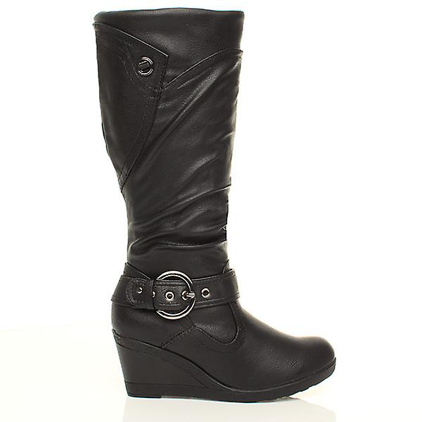 Ajvani womens zip mid heel wedge buckle platform high calf fur lined boots