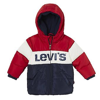 Levis Infants Ray Chest Print Stripe Hooded Jacket (Red / White / Blue)
