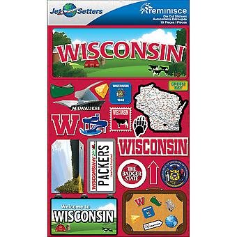 Jet Setters Dimensional Stickers-Wisconsin