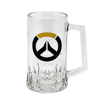 Overwatch logo de chope de bière transparent, en verre, capacité environ 500 ml.