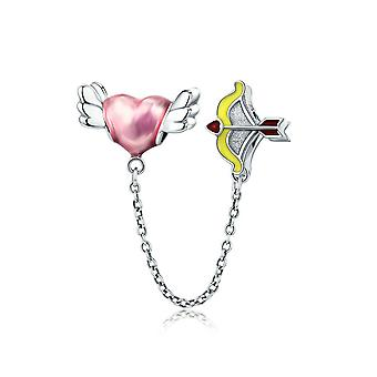Sterling silver safety chain Cupid's arrow