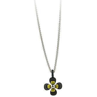 TI2 titanio nero indietro quattro petalo fiore pendente - giallo limone