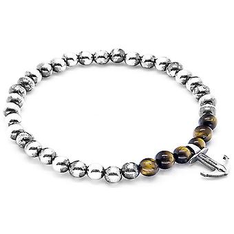 Anchor and Crew Keel Silver and Tigers Eye Stone Bracelet - Brown/Silver