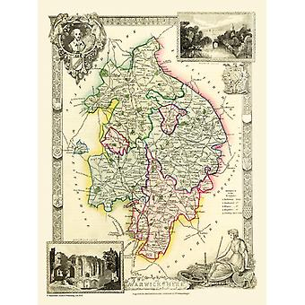 Map of Warwickshire 1836 by Thomas Moule 1000 Piece Jigsaw Puzzle (jg)