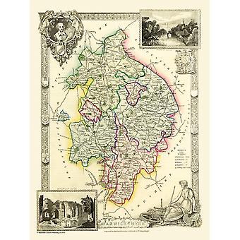 Карта Уорикшир 1836, Thomas Moule 1000 кусок головоломки (jg)