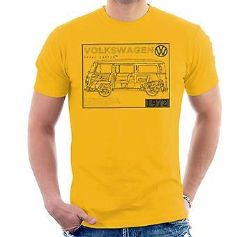 Official Volkswagen Type 2 Camper Plans Dark Text Men's T-Shirt