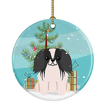 Merry Christmas Tree Pekingnese Black White Ceramic Ornament