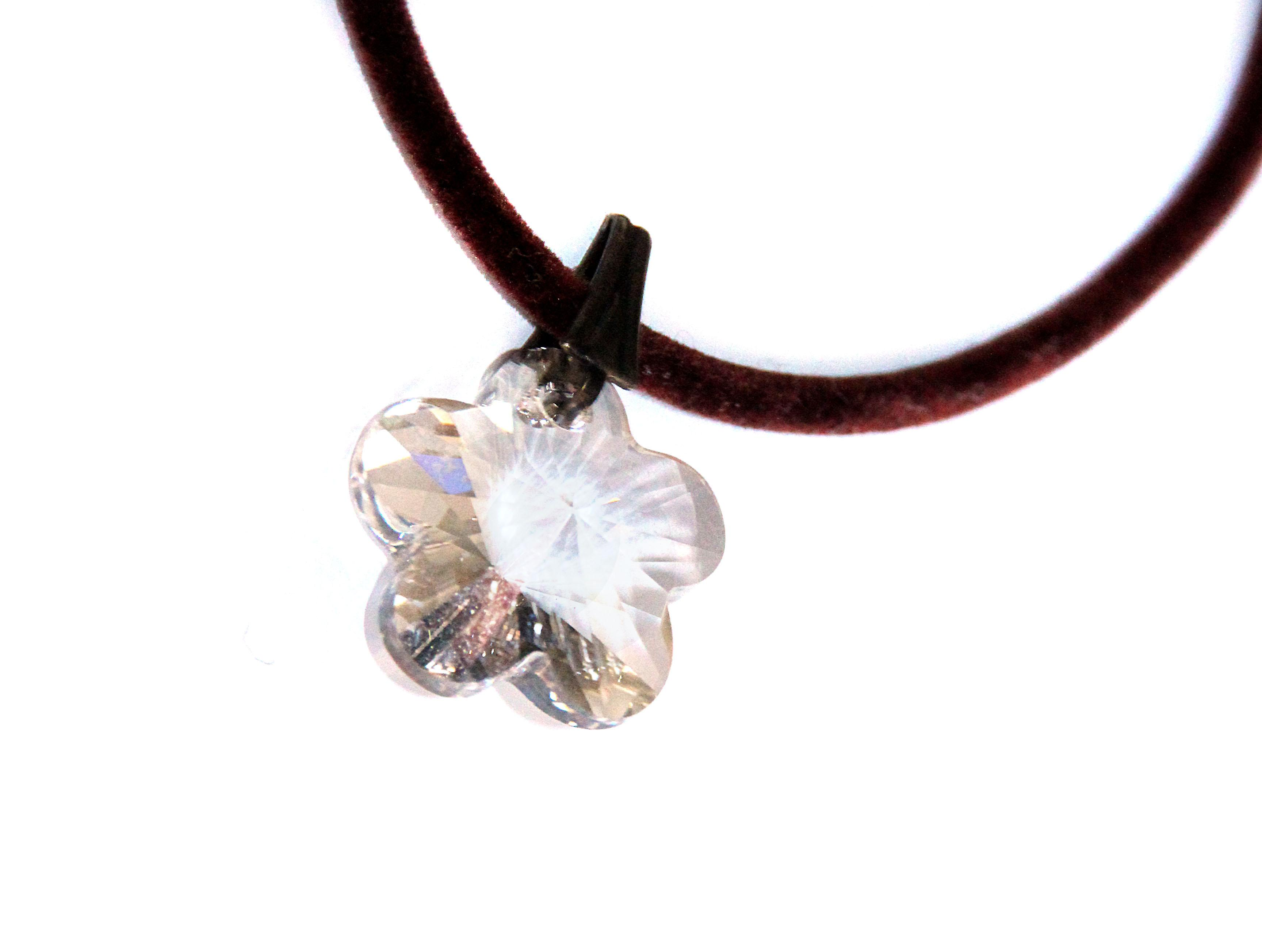 Waooh - Jewelry - Swarovski / white flower pendant cord and velvet - Wholesale