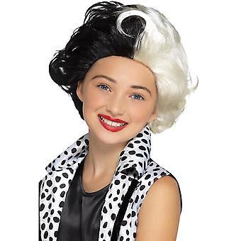 Kwaad Madame pruik zwart & witte kinderen, meisjes Fancy Dress, One Size