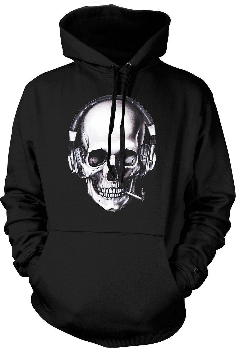Mens Hoodie - Skull Casque DJ