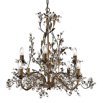 Searchlight 2498-8BR Almandite 8 Light Chandelier Crystal Droplets
