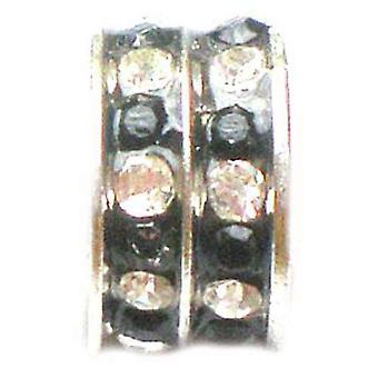 TOC BEADZ Black & Crystal Silver Tone 5mm Slide-on Bead