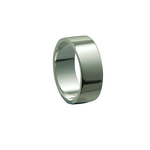 Silver 8mm plain Flat wedding ring
