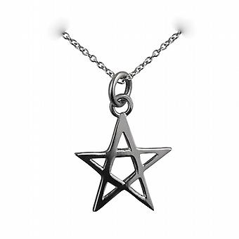 Silver 19x19mm plain Pentangle Pendant with a rolo Chain 14 inches Only Suitable for Children