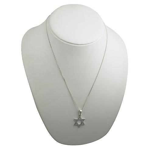 Silver 27x27mm plain Star of David Pendant on a bail with a curb Chain 22 inches