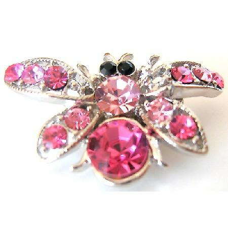 Christmas Rose Crystals Bumble Bee Brooch Holiday Gift Pretty Elegant