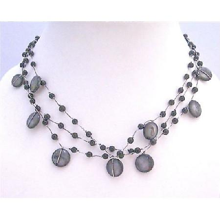 Funky Stunning Necklce Three Stranded Black Shell Black Beads Necklace
