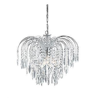 Cascata Chrome 5 luce soffitto lampadario con decorazioni in cristallo - Searchlight 4175-5