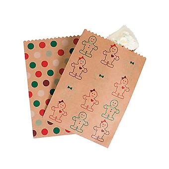 12 Christmas Gingerbread Design Kraft Paper Party or Treat Bags