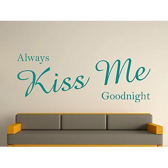 Always Kiss Me Goodnight Wall Art Sticker - Aqua Green