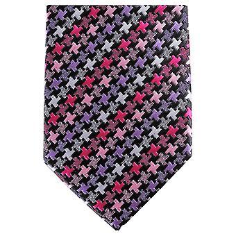 Knightsbridge Krawatten geometrische schmaler Polyester Krawatte - Pink/lila
