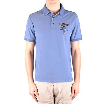 Aeronautica Militare Licht Blu/grün Baumwolle Polo-Shirt