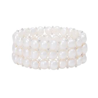 Eternal Collection Tricot White Freshwater Pearl Stretch Bracelet