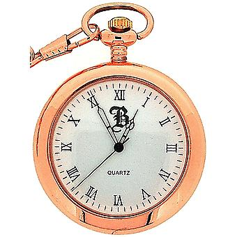 Boxx Gents Roman Numeral Open Face Rose Tone Pocket Watch BOXX240