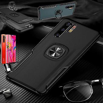 For Huawei P30 magnet metall ring hybrid tilfelle svart veske deksel sak + 4D buet Hart glass