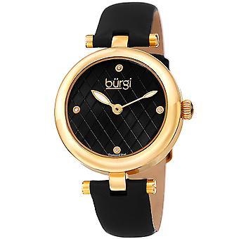 Burgi Women's Quartz Argyle Dial Geniune Black Leather Strap Watch BUR196YGB