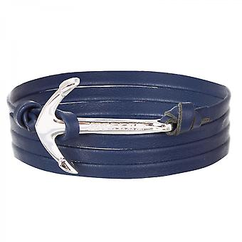 Holler Mosley  Silver Polished Anchor / Blue Leather Bracelet  HLB-02SRP-L08