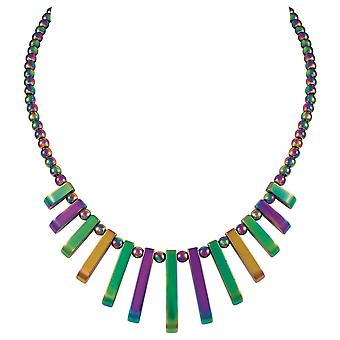 Eternal Collection Chemistry Rainbow Hematite Fan Beaded Necklace