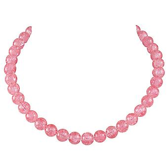 Eternal Collection Carnival Coral Pink Czech Glass Crackle Bead Silver Tone Necklace