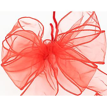 Large Three Loop Red Organza Christmas Wreath or Tree Bow with Tails