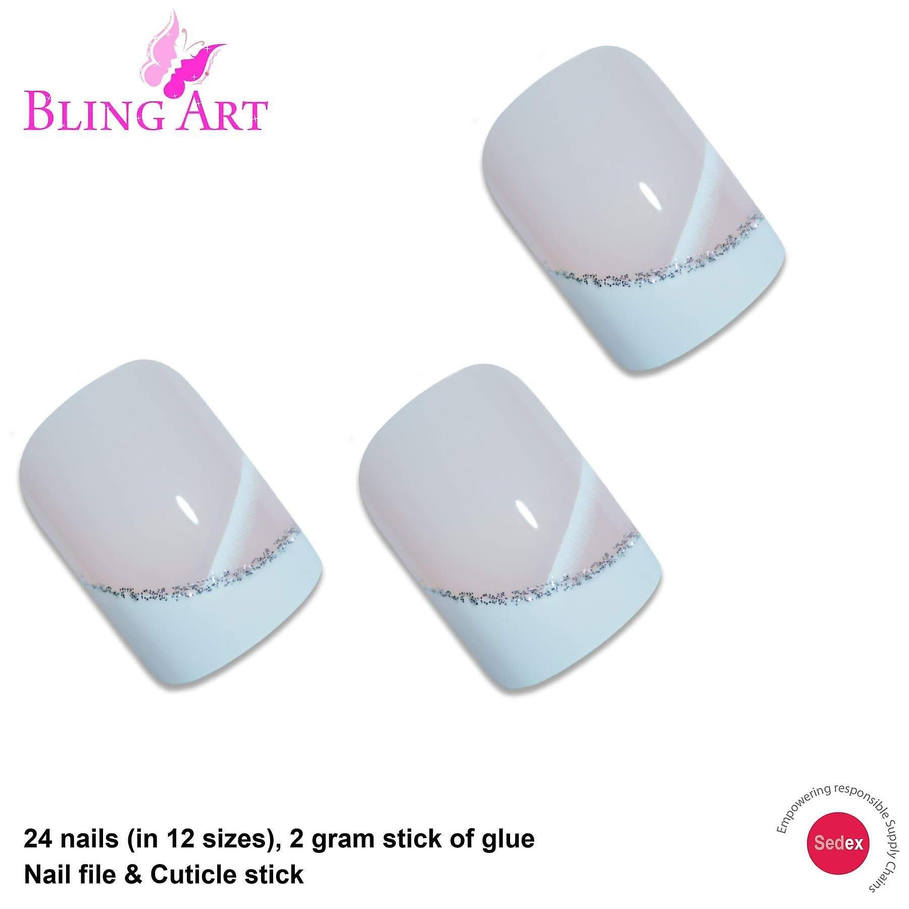 False nails by bling art white glitter french manicure fake medium tips with glue