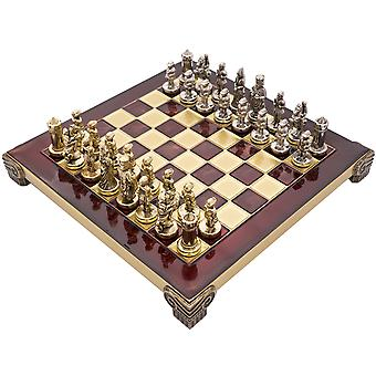 The Manopoulos Byzantine Empire Chess Set with Wooden Case in Red