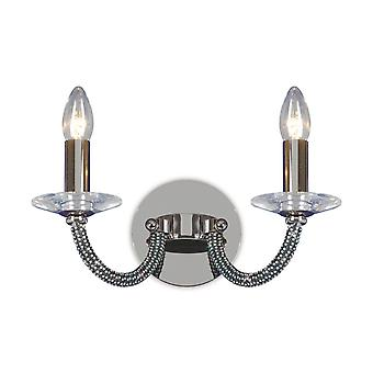 Diyas Elena Wall Lamp Switched 2 Light Black Chrome/Crystal