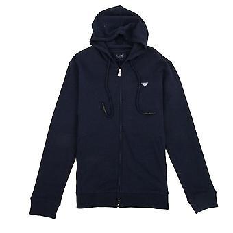 Armani Jeans AJ Eagle Patch Logo Hoody Blue