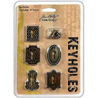 Idea Ology Keyholes With Long Fasteners 5 Pkg  Antique Nickel Brass Copper Th92718