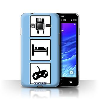 STUFF4 Case/Cover for Samsung Z1/Z130/Game/Gaming/Blue/Eat/Sleep