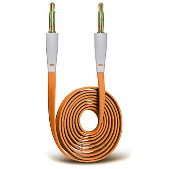 Motorola Moto X Play Gold Plated 3.5mm Jack To Jack Connection Aux Auxiliary Audio Flat Cable (Orange)