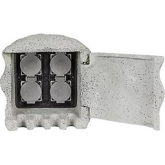 Weatherproof socket strip 4 x Grey Heitronic 37505