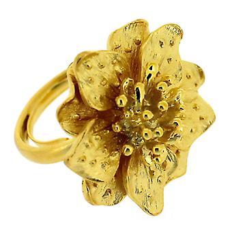 Kenneth Jay Lane oro placcato raso fiore anello