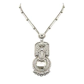 Butler & Wilson Swarovski Crystal Art Deco Pendant on Double Chain Necklace