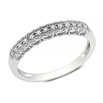 Affici Sterling Silver Semi Eternity Ring 18ct White Gold Plated Hearts Gallery ~ Diamond CZ Gems