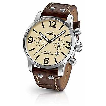 TW Steel Mens Maverick Chronograph Brown Leather Strap Cream Dial MS23 Watch