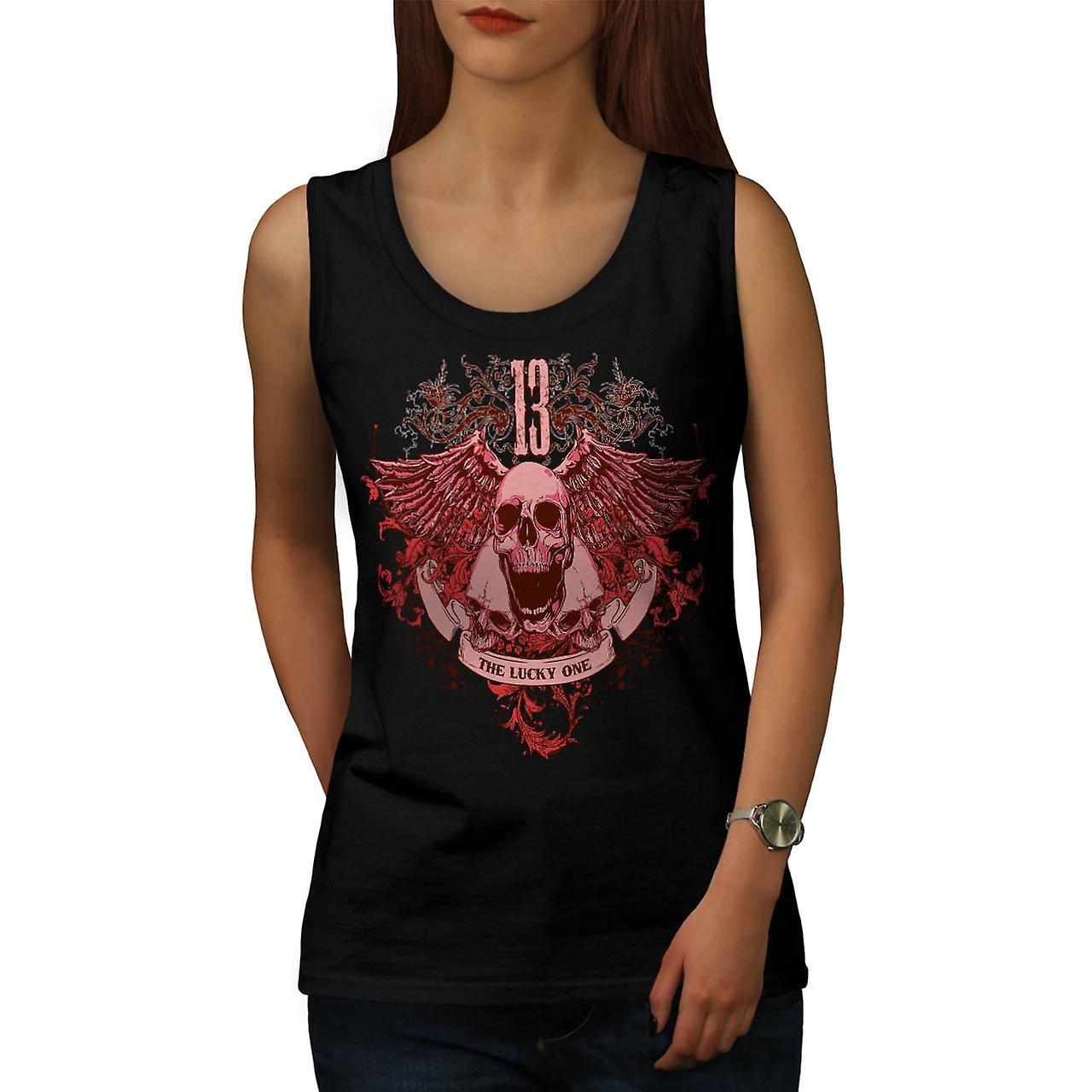 Ghost Lucky Skull Charm Head Women Black Tank Top | Wellcoda