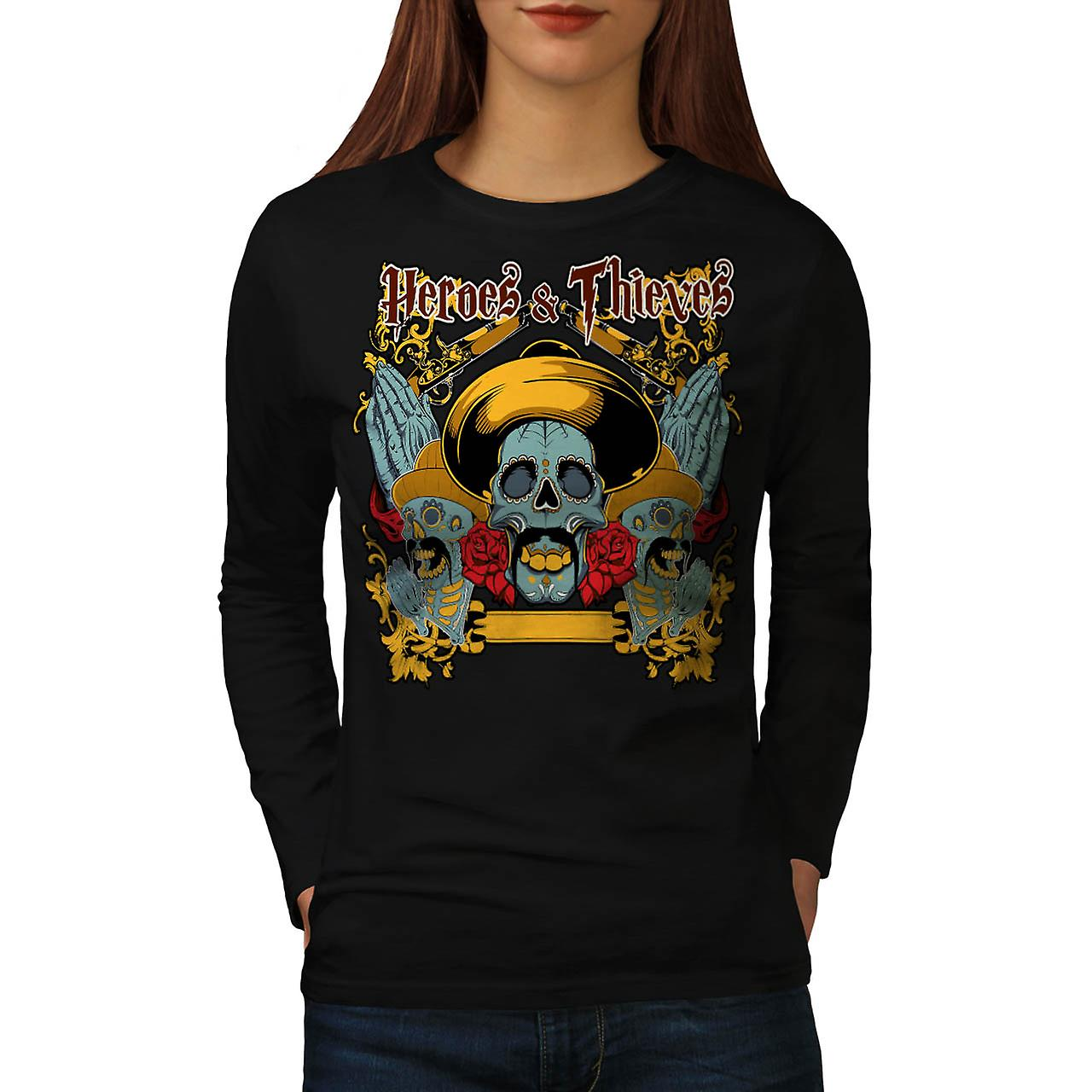 Heroes Thieves Mexico Dead Skull Women Black Long Sleeve T-shirt | Wellcoda