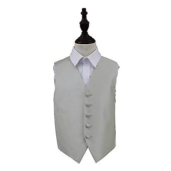 Boy's Silver Solid Check Wedding Waistcoat